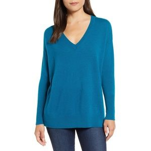 Halogen Relaxed V-Neck Cashmere Sweater Teal Gloss